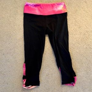 Glyder Pink and Black Workout Cropped Leggings